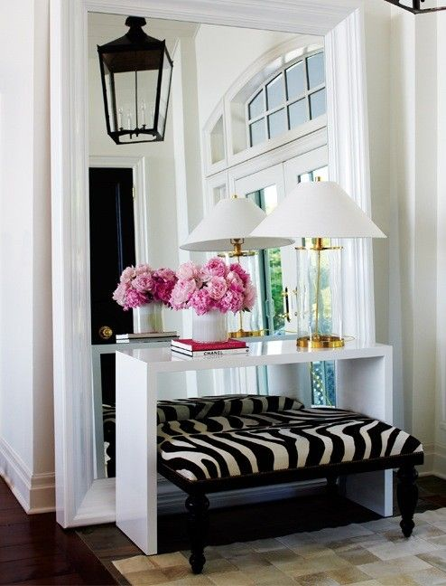 homeDecor, Ideas, Consoles Tables, Big Mirrors, Zebras Prints, Animal Prints, Floors Mirrors, Homes, Entryway