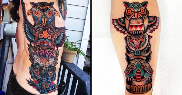 Native American inspired tattoos are always a winner, and these totem pole tattoos are no different! They're awesome!!