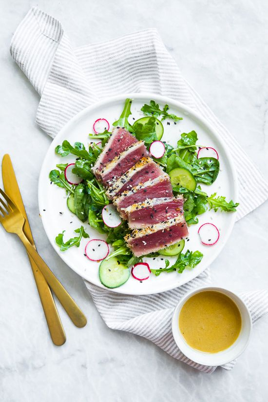 This panko-and-sesame crusted seared tuna on a bed of arugula and spinach, all topped with a wasabi butter sauce, takes Japanese food to whole new level!
