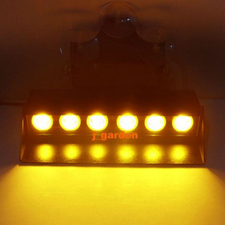39.99$  Buy here - http://aikey.worlditems.win/all/product.php?id=32622932462 - 6 LED 3W Car Windshield LightBar Emergency Warning Light Bar Beacon Hazard Strobe Amber Light Bar