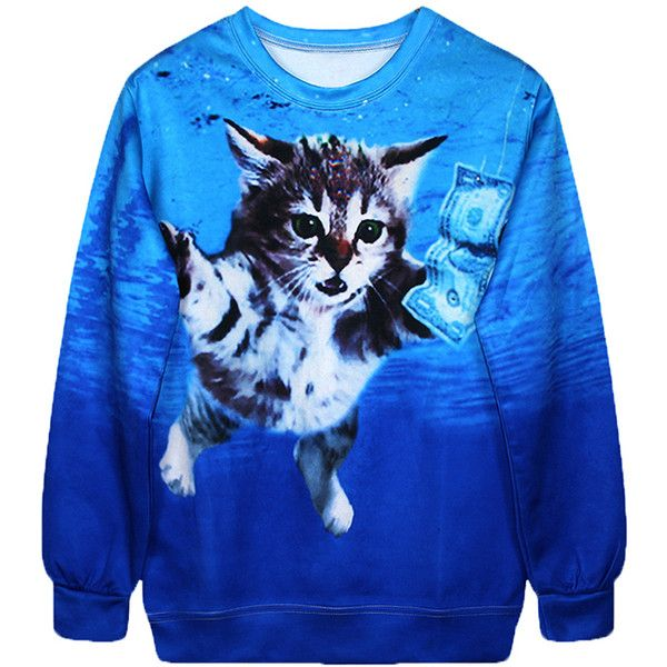 Blue Cool Ladies Jumper Crew Neck Cat Dollar Printed Sweatshirt (£12) ❤ liked on Polyvore featuring tops, hoodies, sweatshirts, shirts, sweaters, jumpers, blue, blue sweatshirt, cat crewneck sweatshirt and cat tops
