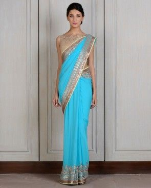 Aqua Blue Georgette Embroidered Sari - Manish Malhotra