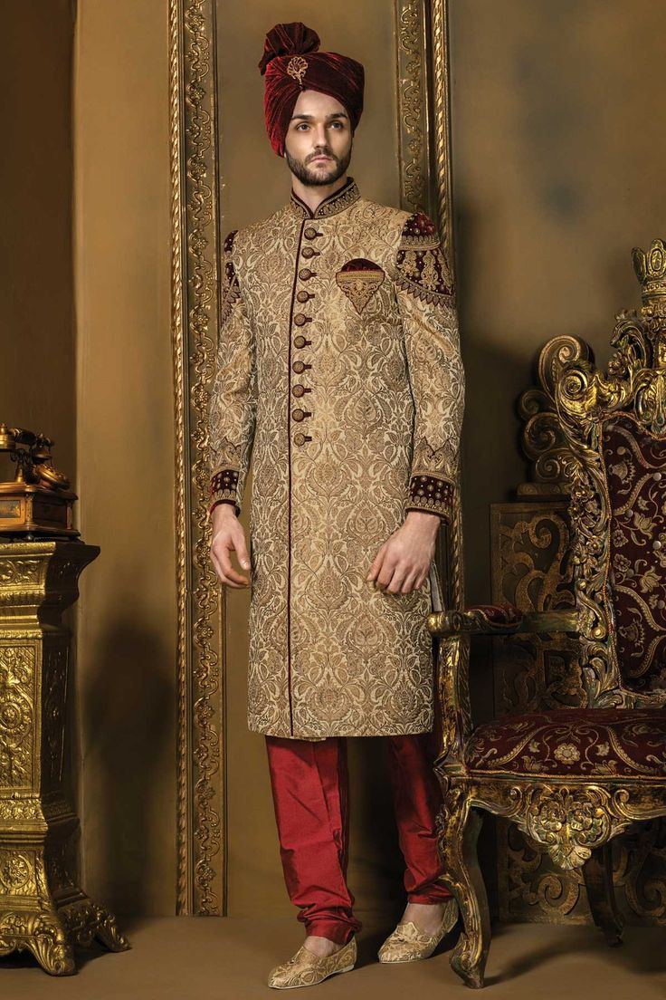 Matt #gold & #maroon khinkwab & #velvet bandh gala dashing #sherwani with chudidhar-IW339