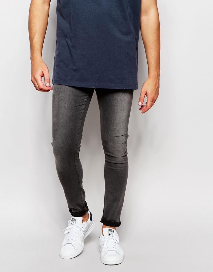 ASOS Extreme Super Skinny Jeans In Cropped Length In Grey
