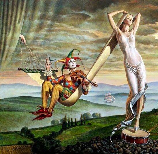 Michael Cheval, Swing of Love - absurdist paintings