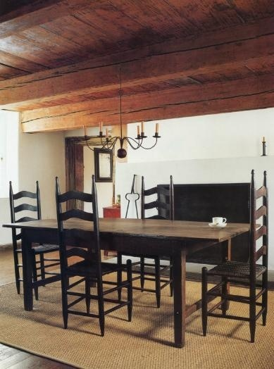 ... Raised Panel Walls, Barn Wood Floor, Exposed Beamed Ceiling, And A  Simple Style For Moulding And Trim, Like In This Farmhouse Old Fashioned Dining  Room.