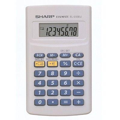 CALCULADORA SHARP DE BOLSILLO EL-233ER. Calculadora Sharp de bolsillo. Pantalla LCD de 8 dígitos, con conversor de monedas. Alimentación a pilas.
