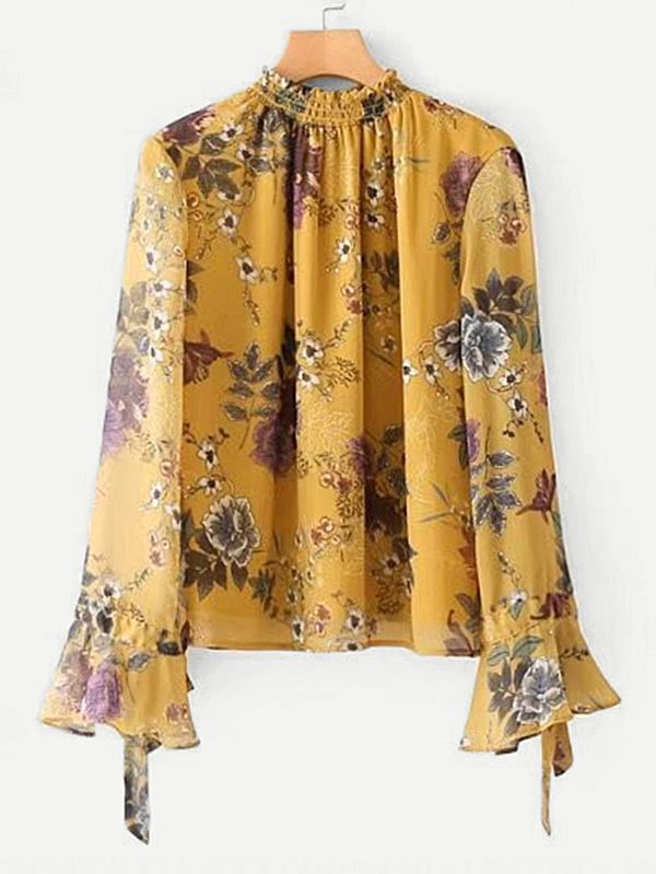 Shop Shirred Neck Calico Chiffon Blouse online. SheIn offers Shirred Neck Calico Chiffon Blouse & more to fit your fashionable needs.