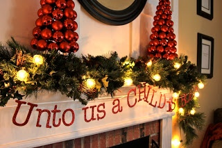 Impatiently Praying for Patience: Christmas mantel-love those ornament trees!