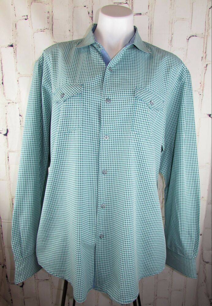 75864769 Tommy Bahama Jeans mens XL Long Sleeve Button Down Shirt Green Check 52