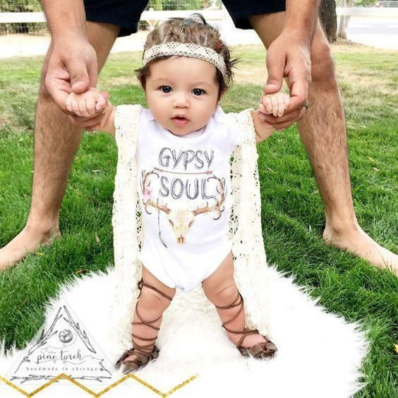 """Gypsy Soul"" Onesie Baby Girl Clothes Baby Boy Clothes Baby Clothes Newborn Baby Clothes Clothing Vintage Inspired The Trendy Bunny https://presentbaby.com"