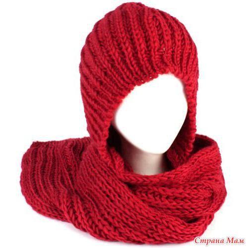 Любая модница сможет сама связать капюшон-шарф спицами. Для этого потребуется около килограмма теплой мягкой шерсти и толстые спицы шестого или седьмого номера.