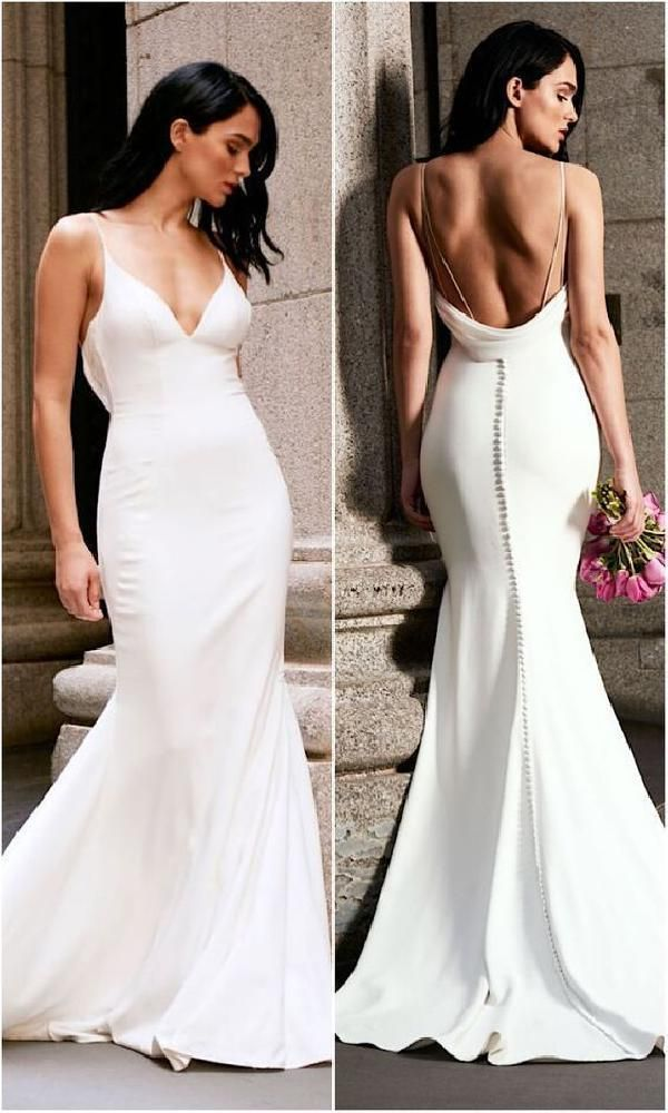 Suitable Wedding Dresses Backless, V Neck Wedding Dresses, Wedding Dresses White, Mermaid Wedding Dresses