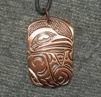 Raven Necklace Trickster - Haida design - copper on cord #a201z