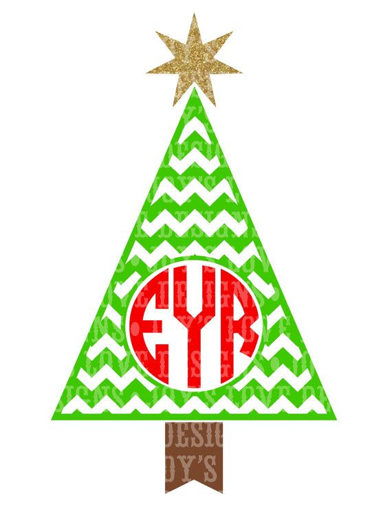 Chevron Monogram Christmas Tree SVG and DXF by JoysLoveDesigns