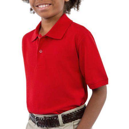George Boys School Uniforms Short Sleeve Pique Polo Shirt, Size: XL (14/16), Red