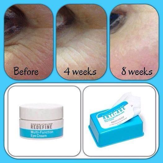 "Kiss your crows feet Goodbye! Check out AMAZING Results with Rodan + Fields Multi-Function Eye Cream & Eye Cloths! ""I had NO idea just how bad my crows feet really were until I made this before and after! I knew the the R+F Multi-Function Eye Cream and Peptide Eye Clothes were working, but...WOW! I use the eye cream 2xs/day and the clothes at night to remove my eye make-up! I AM SO HAPPY WITH THESE RESULTS!"" Let's get you started TODAY! sofiaschiffino@email.com"