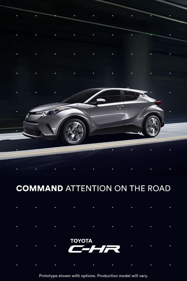 Distinctive style meets rebellious spirit in the first-ever Toyota C-HR. Introducing an edgy new ride that effortlessly takes center stage. Uniquely expressive, C-HR's precision-cut lines let it shine from every angle. Click to learn more.