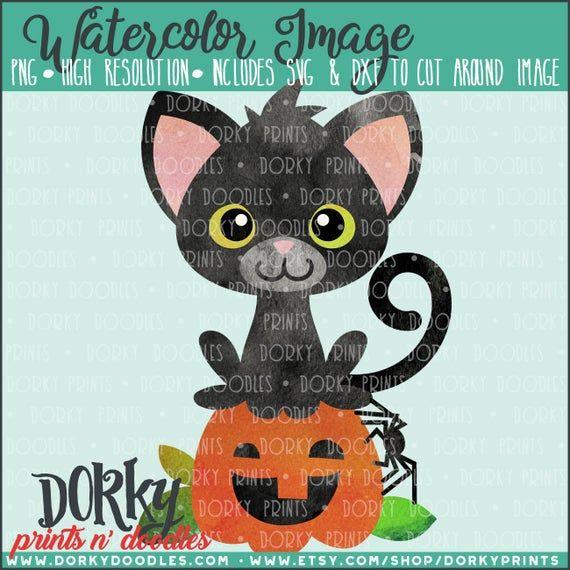 Cat and Pumpkin Halloween Watercolor PNG Artwork – Digital File – for heat press, planners, cookies,