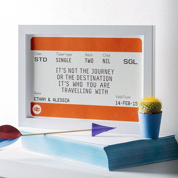 A personalised train ticket print featuring a romantic quote about our journey through life.The name and date sections of this print can be personalised so why not add the names and date of a happy couple's wedding? Or the name and date of someone's departure as they leave on their travels. Or an anniversary gift, Valentine's - the list of occasions is endless. The number of adults and children can also be amended to include the number of people within the recipient's family. Please write…
