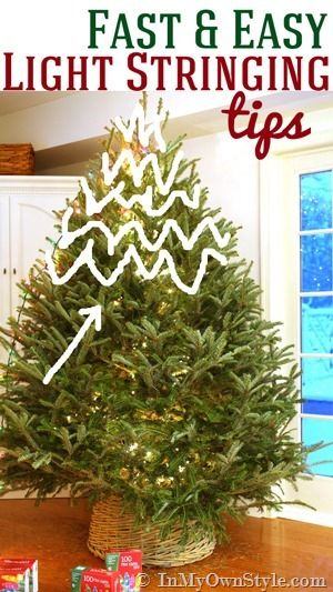 How-to-String-the-Lights-on-a-Christmas-Tree with tips and tricks to make the job fast and easy