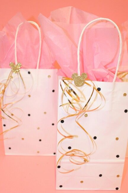 Minnie mouse party bags gold pink and black candy bags first birthday