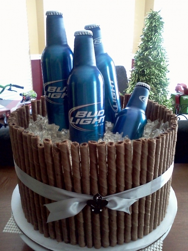 bud bucket cake I think I will be making something like this for Robs retirement cake. I am so excited.