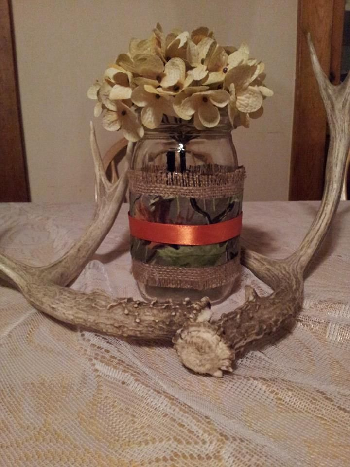 burlap and mossy oak camo mason jar cover wedding decoration