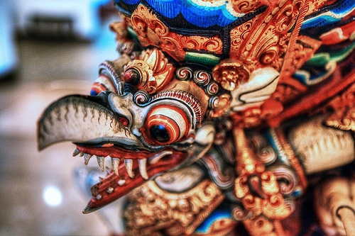 "Indonesia - Java - Wonosobo - Gallery Hotel Kresna Wonosobo - Garuda.The Garuda (Sanskrit/Javanese/Balinese/Indonesian: गरुड garuḍa, ""eagle""; Pāli garuḷa; Burmese: ဂဠုန်, [ɡəlòuɴ]; Tamil: karutan; Thai/Lao/Khmer: ครุฑ khrut; Malay: geroda; Mongolian: гарьд garid) is a large mythical bird or bird-like creature that appears in both Hindu and Buddhist mythology. Visit wiki for more information."