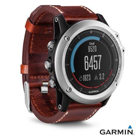 Relógio Garmin Fênix 3 Safira Prata e Marrom com GPS