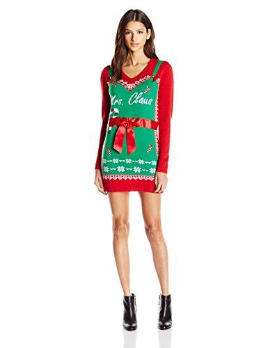 Women's Casual Dresses - Allison Brittney Womens Mrs Clause Bow Ugly Christmas Sweater Dress ** Continue to the product at the image link.