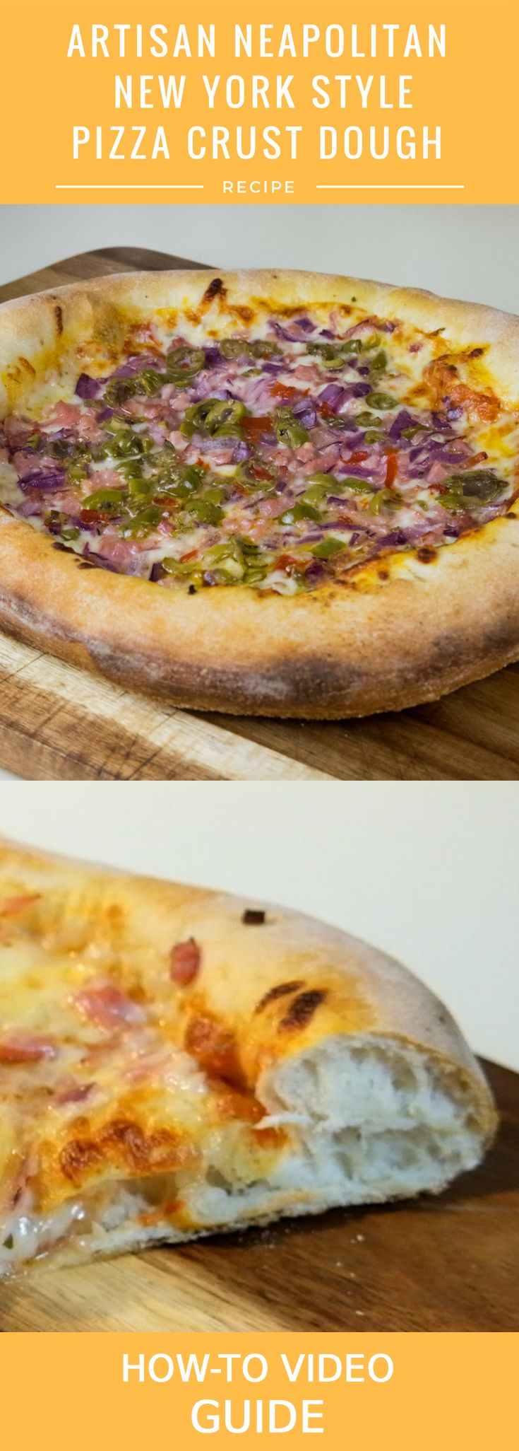 Neapolitan New York Style Pizza Crust Dough Recipe with a Video Guide of Tips and Techniques. Great for standard ovens or wood-fired pizza ovens. We love this pizza dough recipe!