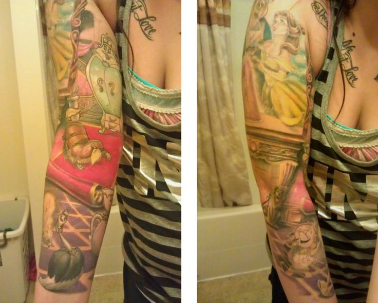 Beauty and the beast sleeve nearly done caleb frey at for Best tattoo artists in spokane