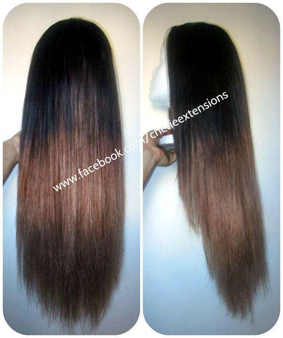 Custom U Part Wig European Remy Balayage Dip Dye U Part Brazilian Wig #2 Darkest Brown into #33 Chestnut into #24 Golden Blonde 220% density