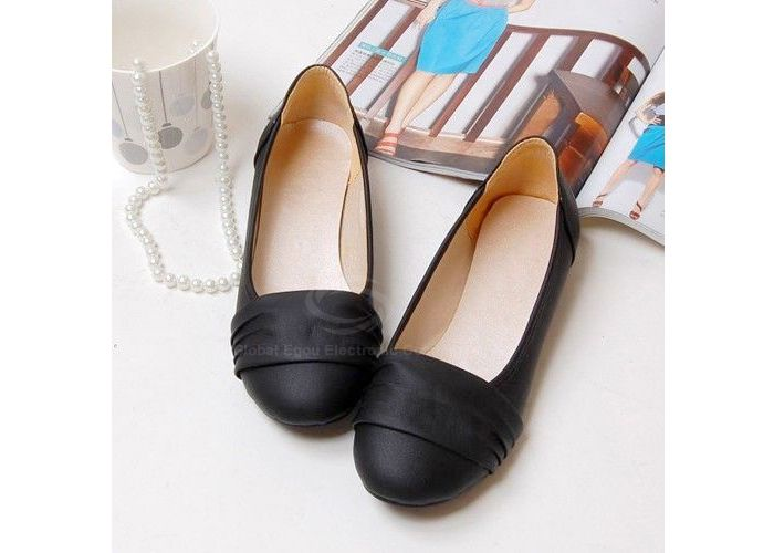 Casual PU Leather Solid Color Pleated Design Women's Flat ShoesFlats | RoseGal.com