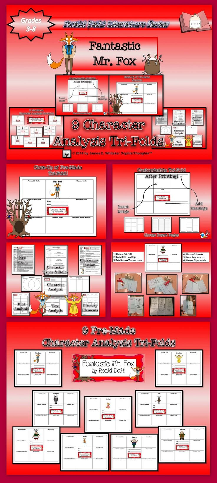 plore the idiosyncrasies and antics of the characters in Roald Dahl's clever novel Fantastic Mr. Fox. You can design your own foldable (after printing) by creating your own headings. You can also have students create them for a more inclusive activity. Tri-Folds are the perfect companion activity for the novel. Works well for bulletin board display, end project, book report or traditional essay alternative.