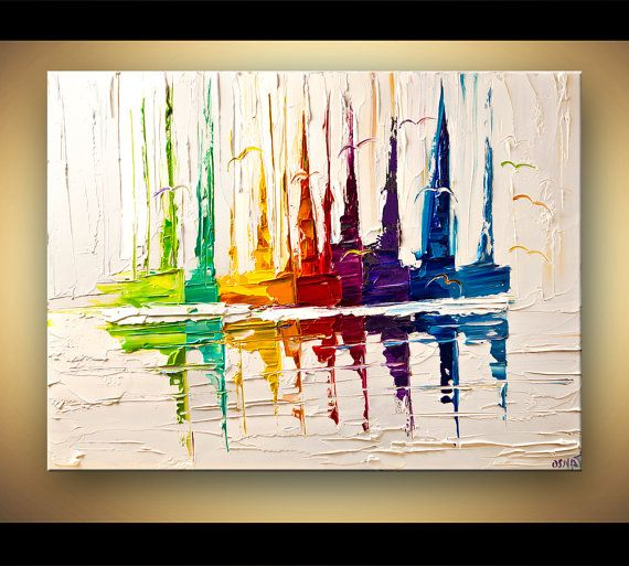 Sail Boat Art  Original Contemporary modern Abstract Seascape Painting On Canvas Colorful Palette Knife by Osnat 40x30 via Etsy