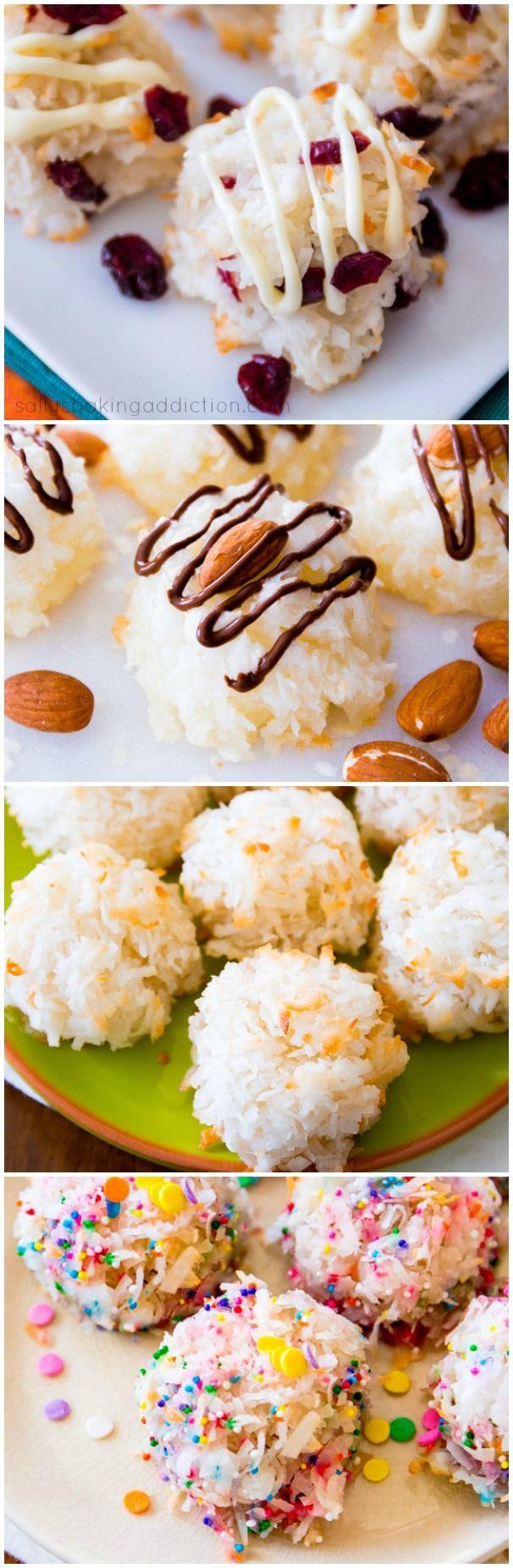 My favorite chewy, moist coconut macaroon recipe! Enjoy them with white chocolate, dark chocolate, sprinkles, or plain.