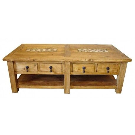 Marble And Pine Mexican Rustic Pine Coffee Table