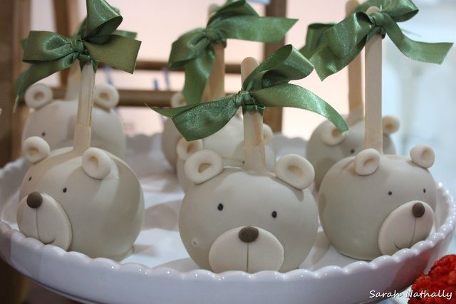 Decorated bear caramel apples!  See more party ideas at CatchMyParty.com!