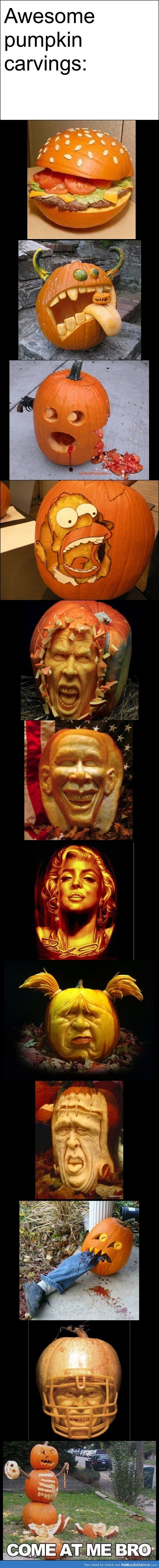 Awesome pumpkin carvings