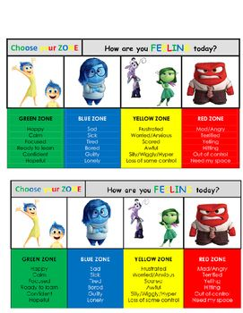 Zones of regulation cards merged with the Inside Out characters. Copies can be…