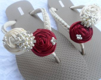 Wedge Bridal Flip Flops / Wedding Pearls Flip by RossyAccesorios