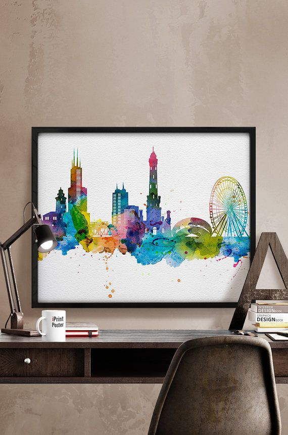 Chicago, Art Print, Watercolor, Chicago poster, Art, City Illustration, City Wall art, Artwork, Chicago poster, Home Decor, iPrintPoster.  Art