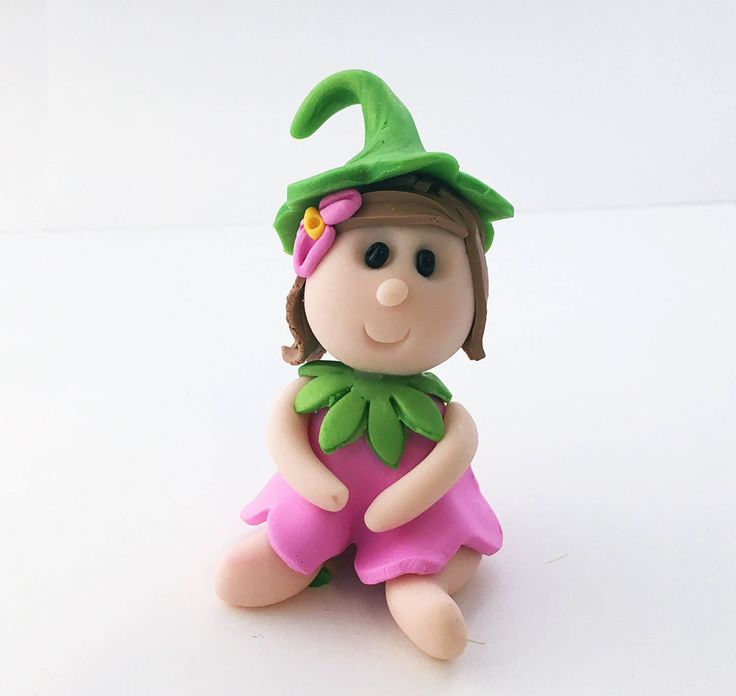 Pink Garden Fairy, Pink Fairy, Miniature Fairy, Fairy Cake Topper, Fairy Figurine, Fairy Garden Accessory, Fairy Garden Decor, Polymer Clay by WeeBitCuckoo on Etsy https://www.etsy.com/listing/503070920/pink-garden-fairy-pink-fairy-miniature