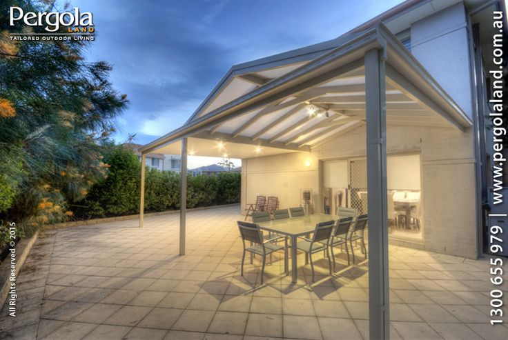 Modern Pergola with Flat and Gable combination. Gable fitted with polycarbonate. Flat fitted with Insulated roofing with LED down-lights