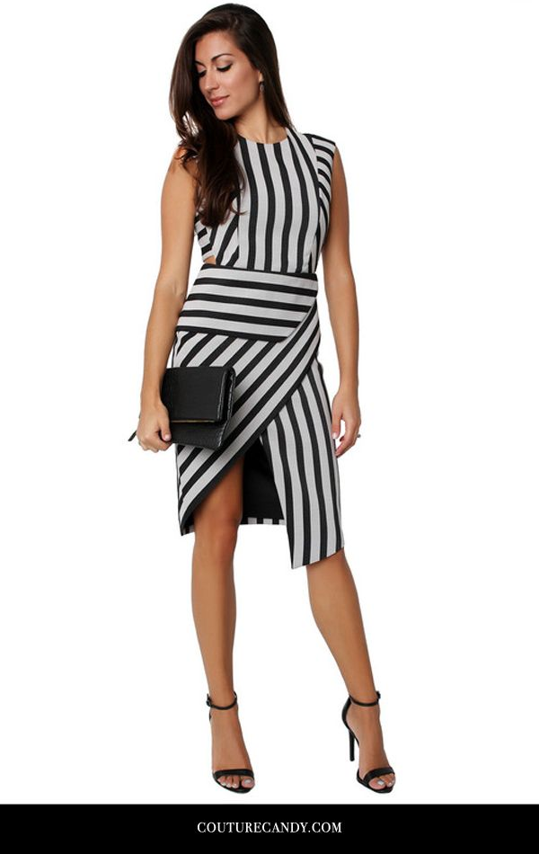 Mason By Michelle Mason - Stripe Assymetric Dress | www.couturecandy.com