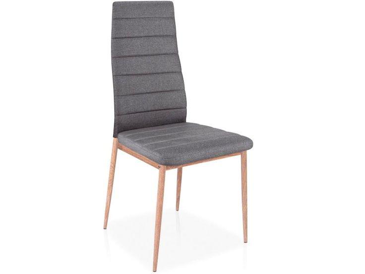 Krzesło H264 posiada metalową podstawę o barwie dębu, na której znajduje się tapicerowane szarą tkaniną siedzisko i oparcie z dekoracyjnymi poprzecznymi przeszyciami.