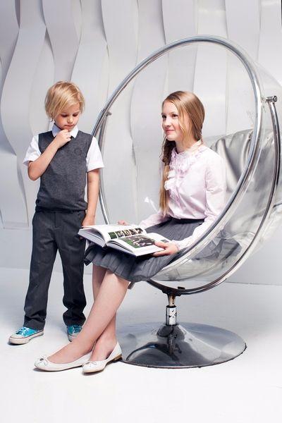 Школьная форма Choupette: Юбка-плиссе для девочки, серая жилетка вязанная для мальчика