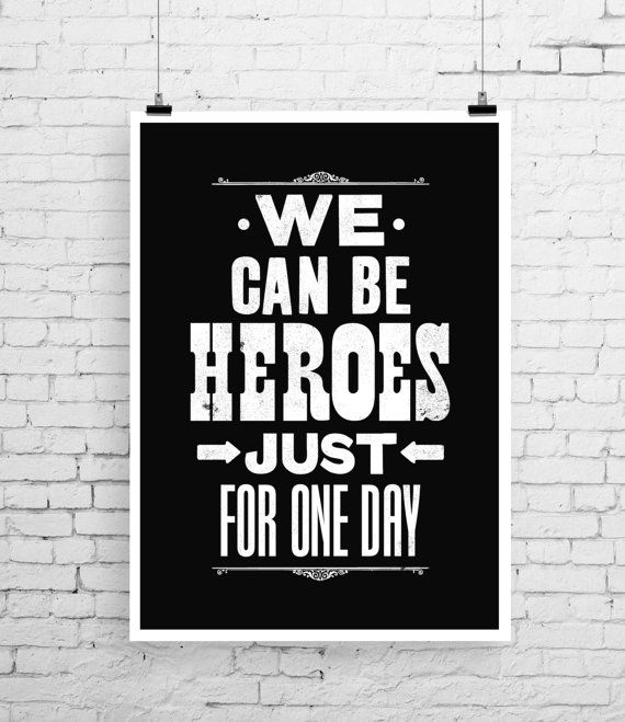 David Bowie song lyric art, David Bowie art print, music inspired print, typographic print, Heroes, David Bowie poster, wedding gift